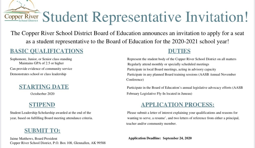 Student Representative on the Board of Education