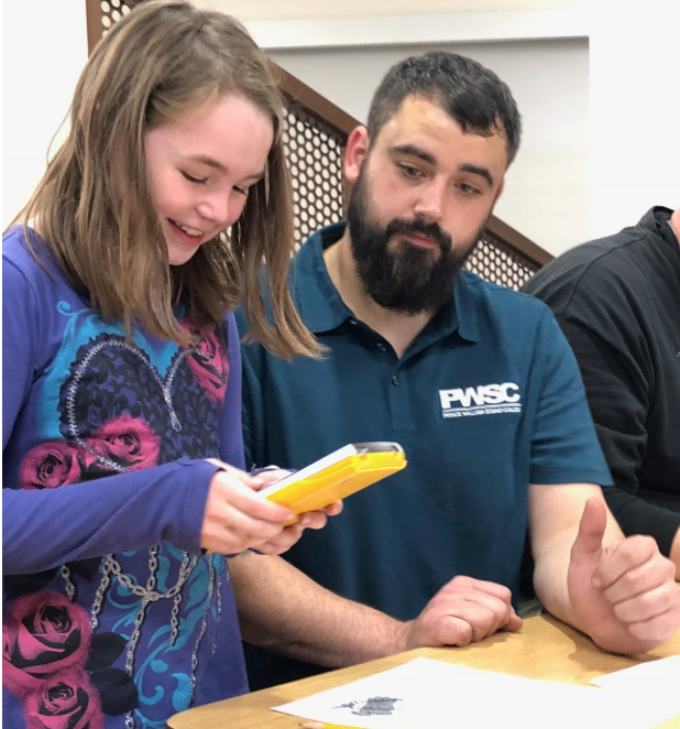 CRSD high school math teacher Jared Dale assisted students (and parents!) of all ages with math challenges at his Family Fun Night station. Parents were able to see and practice math problems and concepts at the various grade levels.